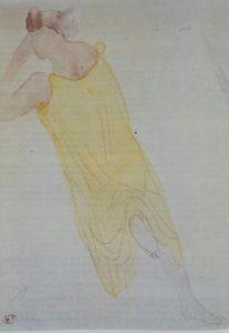 Роден. Женская фигура в желтом. Акварель