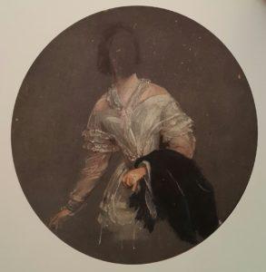 Брюллов. Портрет неизвестной в белом платье. Около 1838. Интересно, когда, кем и почему лицо замазано