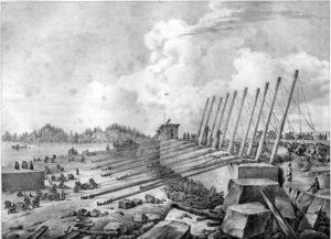 Нижний рисунок. Отделение монолита от скалы. Справа идущие вверх рычаги, слева тянут блок кабестанами (лебедками)