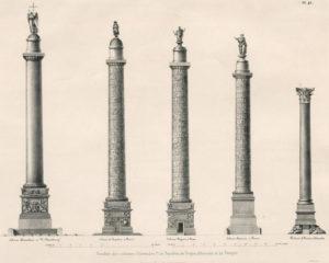Слева направо: Александровская колонна, Вандомская, Траянова, колонна Антонина, Помпеева колонна