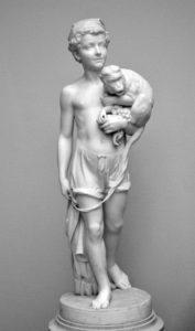 Лаверецкий. Мальчик-неаполитанец с обезьянкой. Мрамор. 1870