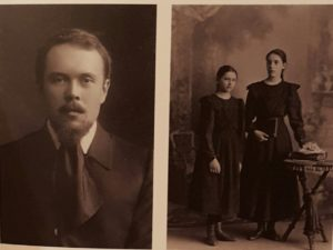Слева – В.А.Ватагин. Фото 1910. Справа Антонина и Елена Ржевские. Первая и вторая жена Ватагина. Фото 1901
