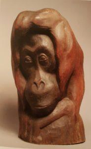 Голова оранга. Дерево тонированное. 1927