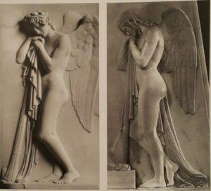 Слева Ангел скорби Торвальдсена, справа – Ангел скорби Кановы. (Фрагменты надгробий)
