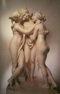Канова. Три Грации. Оригинальная модель в гипсе. Гипсотека в Поссаньо. 1813. Высота 170 см. Видны металлические точки