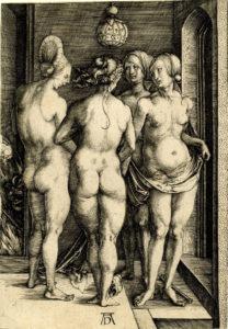 А.Дюрер. Четыре ведьмы или сцена из борделя. Гравюра 1497
