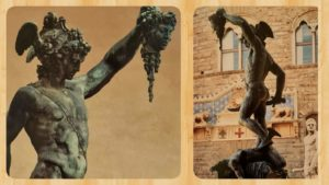 Б.Челлини. Персей. Бронза. Постамент-мрамор. 1545-1554