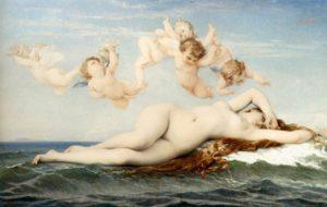 Кабанель. Рождение Венеры. 1863. Контрапоста нет (так как лежит), зато каков «хиазм»!
