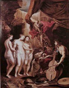 Воспитание королевы. Гравюра по меди. 1708. Гравер Жан Батист Массе по рисунку Ж.М.Натье, однако, придумал все это Рубенс (на гравюре есть подлинная надпись «Rubens pinxit» - «Рубенс написал»)