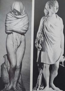 Гудон. Слева: Озябшая (Зима). Мрамор. 1783. Справа: Лето. Мрамор. Около 1785.