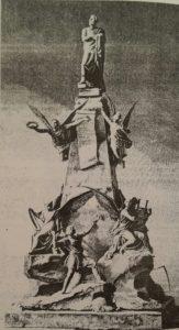 Н.С.Пименов. Проект памятника Пушкину. 1862. Гравюра. Пименов был блестящий рисовальщик