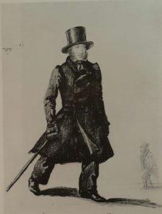 П.И.Челищев. Пушкин и граф Д.И.Хвостов. Начало 1830-ых гг. Рисунок с юморком, физическая форма Пушкина дана в сравнении с таковой графа Хвостова (на заднем плане)