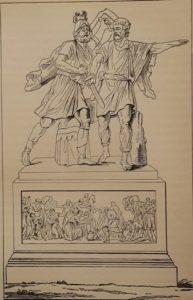 Гравюра с первого проекта памятника Минину и Пожарскому Мартоса.1804-1807