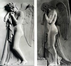 Справа: Канова. Ангел смерти 1817-1819. Слева: Торвальдсен. Ангел смерти. 1811