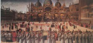 Фото. Джентиле Беллини. Крестный ход с частицами Святого Креста Господня на Пьяцце (площади) Сан-Марко в Венеции. 1496