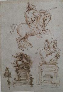 Фото. Леонардо Да Винчи эскиз конного памятника