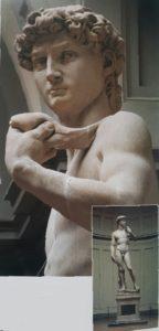 Фото. Микеланджело. Голова Давида. Фрагмент. Оригинал стоит в музее Академии во Флоренции. 1504