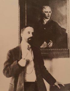 Фото. И.Я.Билибин у портрета прадеда Я.И.Билибина кисти Д.Г.Левицкого. Фото начала 1900-ых.