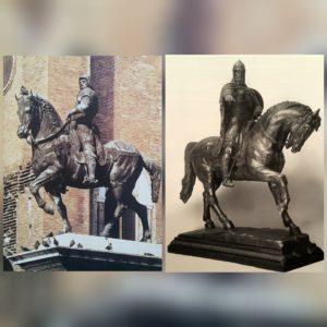 Фото. Слева памятник Коллеони, справа памятник Юрию Долгорукому