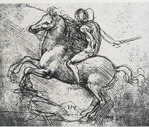 Фото. Леонардо да Винчи. Эскиз конной статуи кондотьера Франческо Сфорца