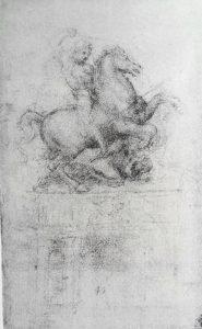 Фото. Леонардо да Винчи. Эскиз конного памятника Ж.Жакомо Тривульцио