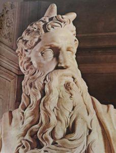 Фото. Микеланджело. Голова Моисея. 1513-1514. Фрагмент. Гробница Юлия II. Начата в 1513, окончена в 1547. Церковь Сан Пьетро ин Винколи