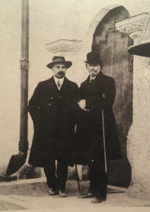 Фото. М.В.Нестеров и А.В.Щусев у церкви Марфо-Мариинской обители в Москве. Фото 1911-1912
