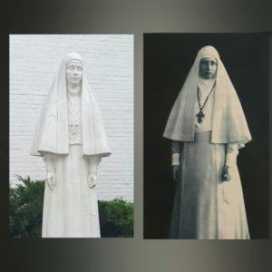 Слева памятник, справа фотография Елизаветы Федоровны
