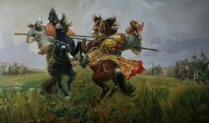 Фото. М.И.Авилов. Поединок Пересвета и Челубея на Куликовом поле. 1943