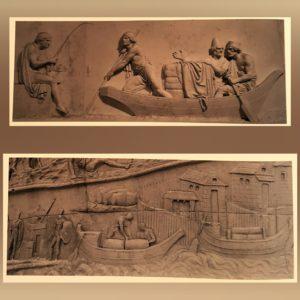 Наверху: Торвальдсен. Триумф Александра Македонского. Внизу: барельеф с колонны Траяна в Риме