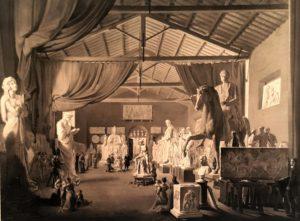 Ганс Дитлев Христиан Мартенс (Hans Ditlev Christian Martens). Папа Лев XII посещает большую студию Торвальдсена в День Св. Луки 18 октября 1826 г. Копенгаген. 1830