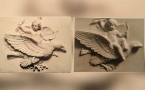 Амур на орле. Летает. Слева - эрмитажная версия (мрамор). Справа - Музей Торвальдсена. Копенгаген