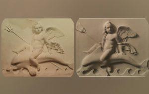Амур на дельфине. Плавает. Слева –эрмитажная версия (мрамор). Справа – Музей Торвальдсена. Копенгаген
