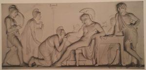 Торвальдсен. Приам, просящий у Ахилла тело Гектора. 1815. Аббатство Вобурн в графстве Бедфордшир, Англия