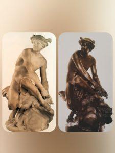 Пигаль. Слева: «Меркурий, завязывающий сандалию» из мрамора. 1744. Лувр. Справа он же из свинца. 1753. Лувр. Париж