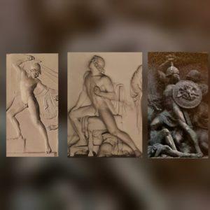 Слева: Неоптолем Кановы, в центре: Ахилл Торвальдсена, справа: русский воин с барельефа И.Т.Тимофеева «Изгнание французов» на Триумфальных воротах в Москве (на Поклонной горе)