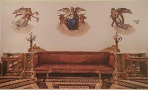 """Малахитовый зал. Вид части стены с изображением аллегорических фигур """"День"""", """"Поэзия"""", """"Ночь"""""""