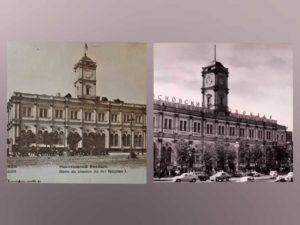 Слева: здание Николаевского вокзала в Москве, справа: здание Николаевского вокзала в северной Санкт-Петербурге