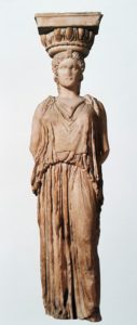 Неизвестный мастер. Кариатида из храма Эрехтейон, Акрополь, Афины (Греция). Около 420-406 гг. до н.э. Находится в Британском музее в Лондоне