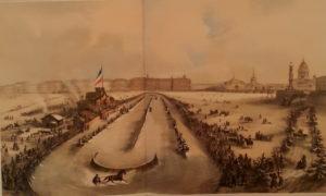 Зимние конные бега на Неве. Раскрашенная гравюра по рисунку И.И.Шарлеманя