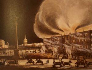 Пожар Зимнего Дворца 17 декабря 1837 года. Акварель Б.Грина. 1838. Государственный Эрмитаж