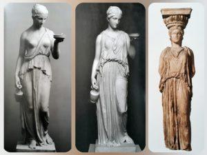 Слева направо: первый вариант «Гебы», второй вариант «Гебы» Торвальдсена, античная кариатида