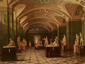 Премацци. Зал новейшей западноевропейской скульптуры в Новом Эрмитаже (с номерами скульптурных композиций)