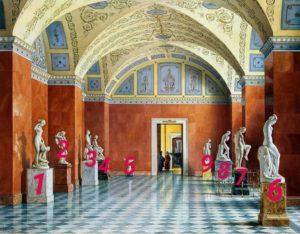 Премацци. Зал новейшей русской скульптуры. Номерами выделены отдельные скульптуры.