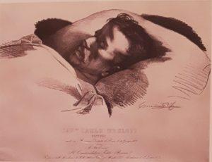 Брюллов на смертном одре. 1852. Литография по рисунку Керубино Корньенти