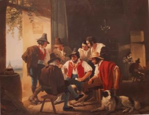 Штернберг. Игра в карты в неаполитанской остерии (ресторане). Первая половина 1840-ых (а позднее и быть не могла, так как художник умер). Холст. Масло. Третьяковская галерея