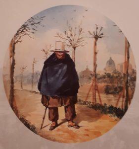 Скотти М.И. (годы жизни 1814-1861, в Риме стажировался в 1838-1844). Александр Иванов, идущий по Рипетта (улица в Риме). 1843-1844. Третьяковская галерея