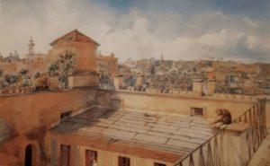 А.И.Иванов (голубой). Вид Рима с крыши дома. 1854. Акварель. Русский музей. Петербург