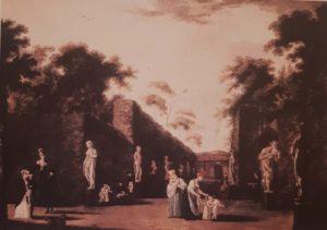 Аллея Летнего сада со статуями. 1800-ые годы, то есть когда « и в Летний сад гулять водил»…Пушкина. Акварель неизвестного художника