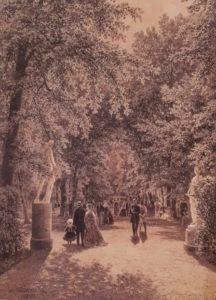 И.И.Шишкин. В Летнем саду. 1869. Бумага желтая, тушь, перо. Русский музей. Санкт-Петербург
